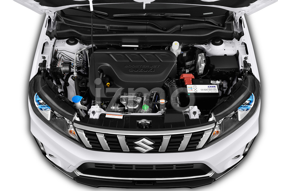 Car stock 2019 Suzuki Vitara Grand Luxe Xtra 5 Door SUV engine high angle detail view