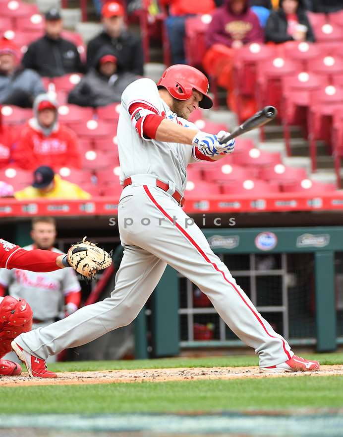 Philadelphia Phillies Michael Saunders (5) during a game against the Cincinnati Reds on April 6, 2017 at Great American Ballpark in Cincinnati, OH. The Reds beat the Phillies 4-7.