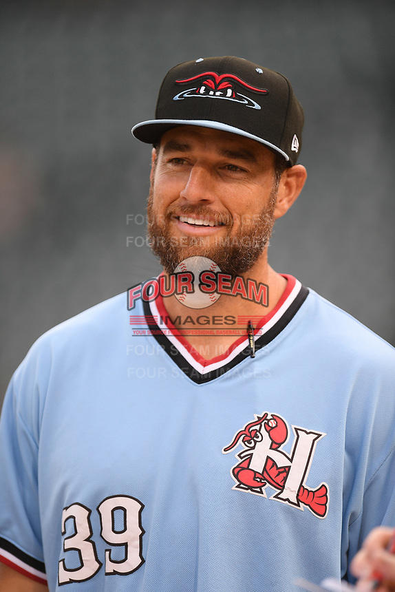 Manager Matt Hagen (39) of the Hickory Crawdads in a game against the Columbia Fireflies on Tuesday, August 27, 2019, at Segra Park in Columbia, South Carolina. Columbia won, 3-2. (Tom Priddy/Four Seam Images)