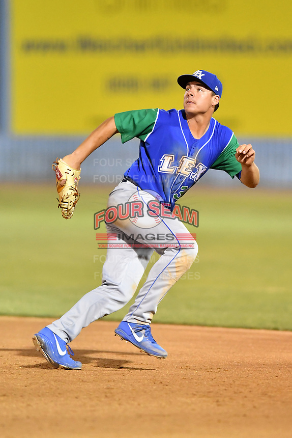 Lexington Legends first baseman Nick Pratto (30) reacts to the ball during a game against the Asheville Tourists at McCormick Field on May 25, 2018 in Asheville, North Carolina. The Tourists defeated the Legends 6-4. (Tony Farlow/Four Seam Images)