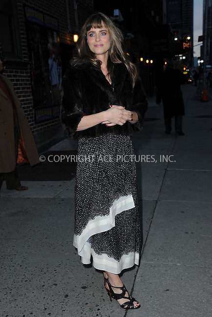WWW.ACEPIXS.COM . . . . . <br /> January 14, 2015...New York City<br /> <br /> Amanda Peet arrives to tape an appearance on the Late Show with David Letterman on January 14, 2015 in New York City.<br /> <br /> Please byline: Kristin Callahan...ACEPIXS.COM<br /> Tel: (212) 243 8787 or (646) 769 0430<br /> e-mail: info@acepixs.com<br /> web: http://www.acepixs.com