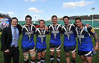 Nick Abendanon, Francois Louw, Michael Claassens, Nick Koster, Stephen Donald and Anthony Perenise. Aviva Premiership match, between Bath Rugby and Leicester Tigers on April 20, 2013 at the Recreation Ground in Bath, England. Photo by: Patrick Khachfe / Onside Images