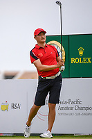 Zheng Kai BAI (CHN) watches his tee shot on 18 during Rd 3 of the Asia-Pacific Amateur Championship, Sentosa Golf Club, Singapore. 10/6/2018.<br /> Picture: Golffile | Ken Murray<br /> <br /> <br /> All photo usage must carry mandatory copyright credit (© Golffile | Ken Murray)