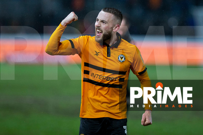Dan Butler of Newport County celebrates at full time of the FA Cup 4th round replay match between Newport County and Middlesbrough at Rodney Parade, Newport, Wales on 5 February 2019. Photo by Mark  Hawkins / PRiME Media Images.