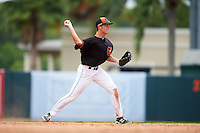 GCL Orioles shortstop Ryan Mountcastle (43) throws to first during the second game of a doubleheader against the GCL Rays on August 1, 2015 at the Ed Smith Stadium in Sarasota, Florida.  GCL Orioles defeated the GCL Rays 11-4.  (Mike Janes/Four Seam Images)