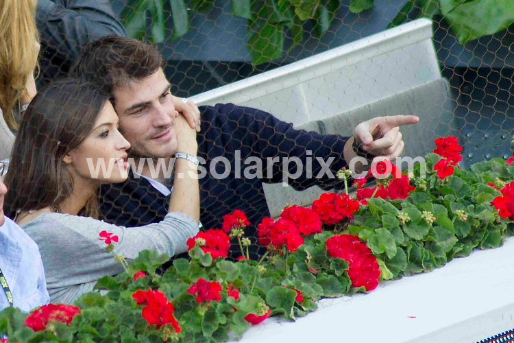 **ALL ROUND PICTURES FROM SOLARPIX.COM**                                             **WORLDWIDE SYNDICATION RIGHTS EXCEPT SPAIN - NO SYNDICATION IN SPAIN**                                                                                  Caption: Real Madrid football player Iker Casillas and girlfriend journalist Sara Carbonero watch the 2011 Madrid Open final between Serbian professional tennis player Novak Djokovic, and Rafael - Rafa - Nadal. Madrid, Spain. 8 May 2011                                                                              This pic: Iker Casillas and girlfriend Sara Carbonero                                                                              JOB REF: 13301 DMS Drake      DATE: 08_05_2011                                                           **MUST CREDIT SOLARPIX.COM OR DOUBLE FEE WILL BE CHARGED**                                                                      **MUST AGREE FEE BEFORE ONLINE USAGE**                               **CALL US ON: +34 952 811 768 or LOW RATE FROM UK 0844 617 7637**