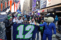Seahawks fans gather at the Super Bowl Boulevard for Super Bowl XLVIII in Manhattan New York January 29, 2014.The city is blocking off a 13-block of Broadway for four days, for a series of fan-related events around Times Square. Photo by Kena Betancur / VIEWpress.