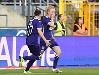 20190807 - ANDERLECHT, BELGIUM : Anderlecht's Charlotte Tison pictured celebrating her goal and the 2-0 lead during the female soccer game between the Belgian RSCA Ladies – Royal Sporting Club Anderlecht Dames  and the Greek FC PAOK Thessaloniki ladies , the first game for both teams in the Uefa Womens Champions League Qualifying round in group 8 , Wednesday 7 th August 2019 at the Lotto Park Stadium in Anderlecht  , Belgium  .  PHOTO SPORTPIX.BE | DAVID CATRY