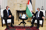 Palestinian Prime Minister Mohammad Ishtayeh, meets with the head of the European Mission to Support the Palestinian Police, Mr. Kaoko Altoma, in the West Bank city of Ramallah, on July 29, 2020. Photo by Prime Minister Office