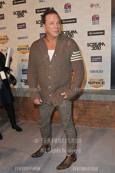 Mickey Rourke at Spike TV's 2010 Scream Awards at the Greek Theatre, Griffith Park, Los Angeles..October 16, 2010  Los Angeles, CA.Picture: Paul Smith / Featureflash