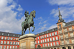 Equestrian statue in Plaza Mayor, Madrid, Spain central square tourist attraction in the heart of the city