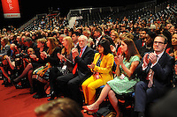 Liverpool, England. 24th September, 2016. <br /> Jeremy Corbyn (4R), his partner Lara Alvarez (3R), Elizabeth Wood, (2R), partner of Owen Smith, and Owen Smith (Right) prior to the announcement of the new leader of the Labour Party at the ACC Conference Centre. The leadership race involved nine weeks of campaigning between Labour leader Jeremy Corbyn and Owen Smith. This is his second leadership election in just over twelve months and was initiated by the decision of Angela Eagle to stand against him. Kevin Hayes/Alamy Live News