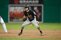 West Virginia Black Bears center fielder Travis Swaggerty (13) leads off first base during a game against the Batavia Muckdogs on July 2, 2018 at Dwyer Stadium in Batavia, New York.  West Virginia defeated Batavia 3-1.  (Mike Janes/Four Seam Images)