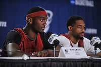 NWA Democrat-Gazette/Michael Woods --03/15/2015--w@NWAMICHAELW... University of Arkansas players Bobby Portis and Rashad Madden answer questions from the media during a press conference before the Razorbacks practice at Jacksonville Veterans Memorial Arena in Jacksonville, Florida.
