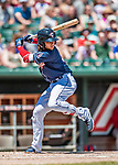 31 May 2018: New Hampshire Fisher Cats infielder Bo Bichette kicks up to hit a solo home run to open the scoring in the first inning against the Portland Sea Dogs at Northeast Delta Dental Stadium in Manchester, NH. The Sea Dogs defeated the Fisher Cats 12-9 in extra innings. Mandatory Credit: Ed Wolfstein Photo *** RAW (NEF) Image File Available ***