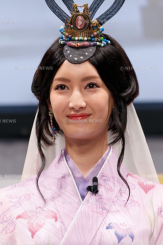 Japanese fashion model and actress Nanao wearing traditional Japanese kimono poses for cameras during a press conference for the new mobile devices of AU's 2017 Summer Selection on May 30, 2017, Tokyo, Japan. Takashi Tanaka, President of AU's parent KDDI Corporation, introduced nine new smartphones, including ones that make use of Google Assistant, and also a new ''au HOME'' service which allows customers to control home electronics through their devices. (Photo by Rodrigo Reyes Marin/AFLO)
