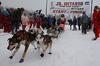 Meredith Mapes of Wasilla leaves the start line of the 2009 Junior Iditarod on Knik Lake on Saturday Februrary 28, 2009.