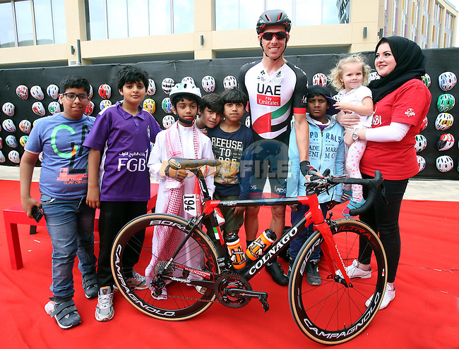 Rui Coata (POR) UAE Abu Dhabi team at sign on before the start of Stage 3 Al Maryah Island Stage of the 2017 Abu Dhabi Tour, starting at Al Ain and running 186km to the mountain top finish at Jebel Hafeet, Abu Dhabi. 25th February 2017<br /> Picture: ANSA/Matteo Bazzi | Newsfile<br /> <br /> <br /> All photos usage must carry mandatory copyright credit (&copy; Newsfile | ANSA)