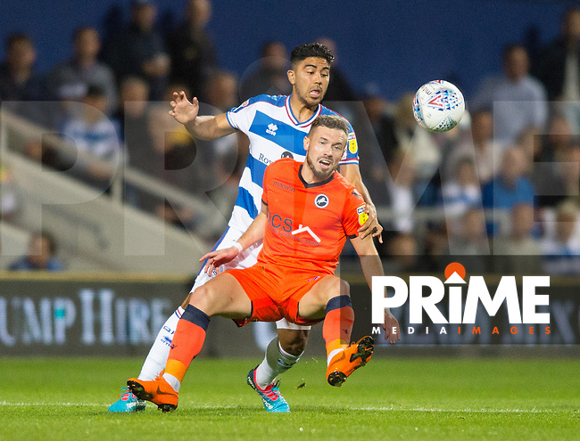 QPR Massimo Luongo  and Millwall's Murray Wallace during the Sky Bet Championship match between Queens Park Rangers and Millwall at Loftus Road Stadium, London, England on 19 September 2018. Photo by Andrew Aleksiejczuk / PRiME Media Images.