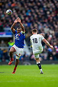 10th February 2019, Twickenham Stadium, London, England; Guinness Six Nations Rugby, England versus France; Owen Farrell of England kicks the ball clear for field position