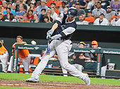 New York Yankees second baseman Neil Walker (14) lines out in the eighth inning against the Baltimore Orioles at Oriole Park at Camden Yards in Baltimore, MD on Saturday, August 25, 2018. This is the regularly scheduled game for today.  The Yankees won the game 5 - 1.<br /> Credit: Ron Sachs / CNP<br /> (RESTRICTION: NO New York or New Jersey Newspapers or newspapers within a 75 mile radius of New York City)