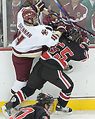 Mike Brennan, Brian Deeth - The Boston College Eagles defeated Northeastern University Huskies 5-3 on Saturday, November 19, 2005, at Kelley Rink in Conte Forum at Chestnut Hill, MA.