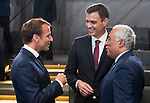 Belgium, Brussels - July 11, 2018 -- NATO summit, meeting of Heads of State / Government; here, Emmanuel MACRON (le), President of France, Pedro SÁNCHEZ (Sanchez) (ce), Prime Minister of Spain, Antonio COSTA (ri), Prime Minister of Portugal -- Photo © HorstWagner.eu