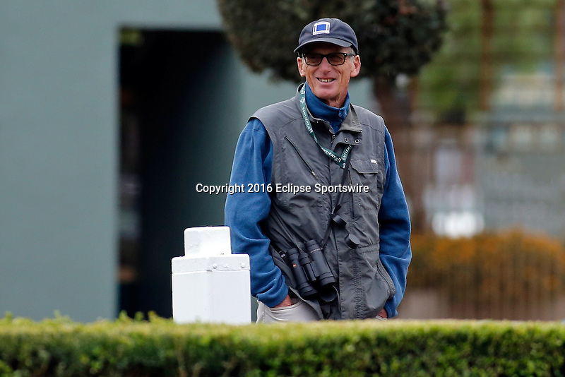 ARCADIA, CA - OCT 31: Trainer John Shirreffs watches horses in the paddock during morning workouts at Santa Anita Park on October 31, 2016 in Arcadia, California. (Photo by Zoe Metz/Eclipse Sportswire/Breeders Cup)