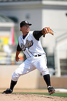 July 16 2008:  Trevor Bell of the Rancho Cucamonga Quakes pitches against the High Desert Mavericks at The Epicenter in Rancho Cucamonga,CA.  Photo by Larry Goren/Four Seam Images
