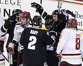 Damian Cross (PC - 9), Bill Arnold (BC - 24), Kevin Hart (PC - 2), Stefan Demopoulos (PC - 12), Derek Army (PC - 19), Edwin Shea (BC - 8) - The Boston College Eagles defeated the visiting Providence College Friars 4-1 (EN) on Tuesday, December 6, 2011, at Kelley Rink in Conte Forum in Chestnut Hill, Massachusetts.