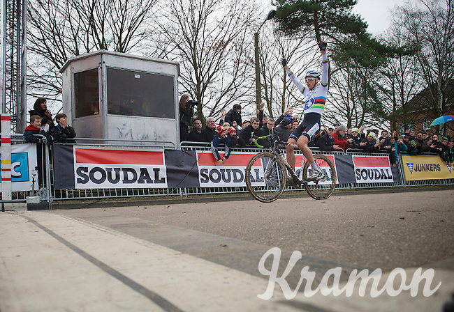 race winner Sven Nys (BEL) crossing the finish line<br /> <br /> Leuven Soudal Classic 2014