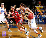 BROOKINGS, SD - JANUARY 25: Macy Miller #12 from South Dakota State University drives against Jaycee Bradley #12 from the University of South Dakota during their game Thursday night at Frost Arena in Brookings. (Photo by Dave Eggen/Inertia)
