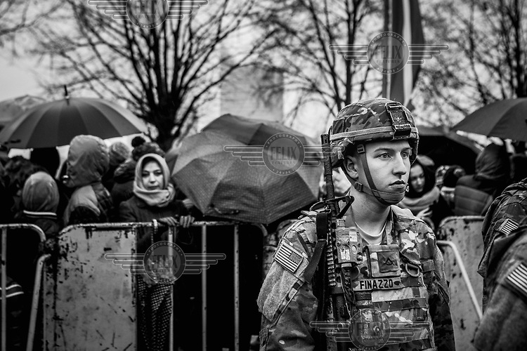 An US Army soldier is one of several colleagues from various NATO countries to take part in the military parade on National Day.