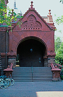 Frank Furness: Furness Library--Gabled Entry Porch, 1890.  Photo '91.