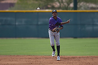 Colorado Rockies shortstop Cristopher Navarro (98) during a Minor League Spring Training game against the Chicago Cubs at Sloan Park on March 27, 2018 in Mesa, Arizona. (Zachary Lucy/Four Seam Images)