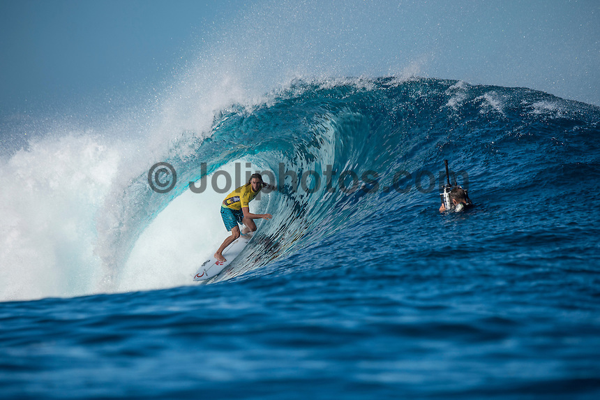 Namotu Island Resort, Nadi, Fiji (Thursday, June 16 2016):   Matt Wilkinson (AUS) - The Fiji Pro, stop No. 5 of 11 on the 2016 WSL Championship Tour, was recommenced today at Cloudbreak with a consistent SSW swell in the 6'-8' range. <br /> Rounds 4 and 5 were completed in perfect conditions with a number of rides in the excellent range including two perfect 10 point rides form Gabriel Medina (BRA) and Kelly Slater (USA).<br /> The contest will wrap up tomorrow in what is shaping up as another perfect surf day.<br /> Photo: joliphotos.com