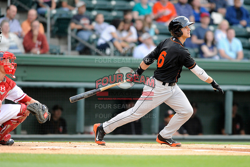 Infielder Adrian Marin (6) of the Delmarva Shorebirds bats in a game against the Greenville Drive on Friday, April 26, 2013, at Fluor Field at the West End in Greenville, South Carolina. Marin is listed as the No. 10 prospect of the Baltimore Orioles, according to Baseball America, and was a third round draft pick in 2012. Delmarva won, 10-3. (Tom Priddy/Four Seam Images)