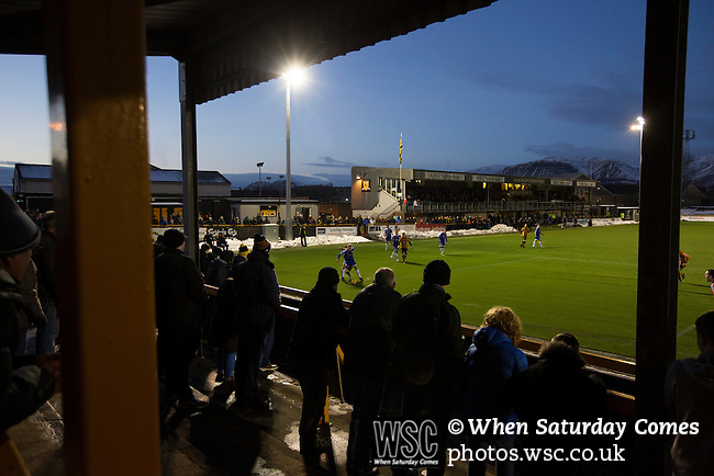 Alloa Athletic 0 Peterhead 1,14/01/2017. Recreation Park, Scottish League One. Home supporters watching the second-half action as Alloa Athletic take on Peterhead (in blue) in a Scottish League One fixture at Recreation Park, with the Ochil Hills in the background. The club was formed in 1878 as Clackmannan County, changing the name to Alloa Athletic in 1883. The visitors won the match by one goal to nil, watched by a crowd of 504. Photo by Colin McPherson.