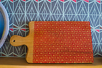 A printed chopping board on display in Nala Designs in Bangsar, Kuala Lumpur, Malaysia, on 18 August 2015. Nala Designs, by founder and designer Lisette Scheers, is inspired by Malaysia's melting pot of Chinese, Malay and Indian cultures. Photo by Suzanne Lee for Monocle