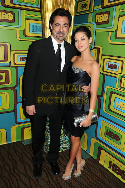JOE & GIA MANTEGNA.HBO 2011 Post Golden Globe Awards Party held at The Beverly Hilton Hotel, Beverly Hills, California, USA..January 16th, 2011.full length suit blue dress strapless father dad daughter family silver clutch bag black goatee facial hair white.CAP/ADM/BP.©Byron Purvis/AdMedia/Capital Pictures.