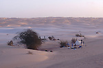 Campement dans les dunes de l'Amatlich. Mauritanie. Afrique. Camp site in the dunes of the Amatlich. Mauritania. Africa