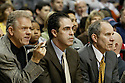 28 March 2005: Kevin Pritchard (Interim Head Coach) of the Portland Trailblazers, with his assistant coaches Jim Lynam (left) and Dan Panaggio (right) in a loosing effort to the Washington Wizards (114-106) at the Rose Quarter Arena, in Portland Oregon..Mandatory Credit: Rob Holt/Icon SMI