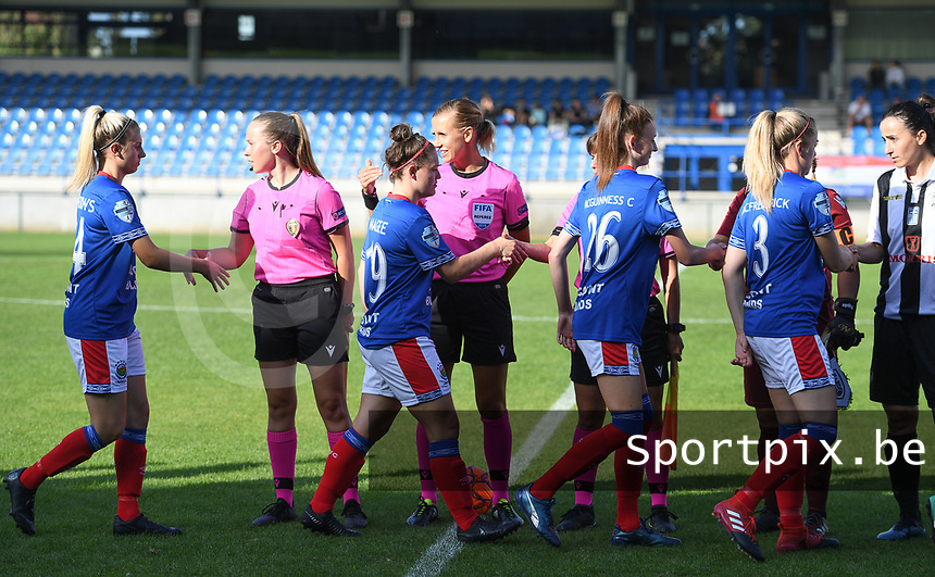 20190810 - DENDERLEEUW, BELGIUM : referees pictured with Belgian assistant Shauni Depruyst , Slovenian Aleksandra Cesen and Slovenian Stasa Spur during the female soccer game between the Greek PAOK Thessaloniki Ladies FC and the Northern Irish Linfield ladies FC , the second game for both teams in the Uefa Womens Champions League Qualifying round in group 8 , Wednesday 7 th August 2019 at the Van Roy Stadium in Denderleeuw  , Belgium  .  PHOTO SPORTPIX.BE | DAVID CATRY