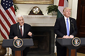 President Mahmoud Abbas of the Palestinian Authority speaks during  a joint statement with United States President Donald J. Trump in the Roosevelt Room  of the White House in Washington, DC, on May 3, 2017. <br /> Credit: Olivier Douliery / Pool via CNP