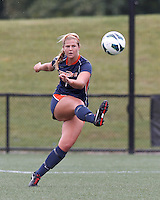 Pepperdine University defender Mandy Davis (7) clears the ball. Pepperdine University defeated Boston College,1-0, at Soldiers Field Soccer Stadium, on September 29, 2012.