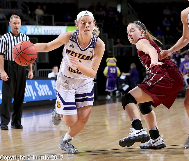 SIOUX FALLS, SD: MARCH 7: Emily Clemens #2 from Western Illinois gets a step around Sydney Hall #42 from IUPUI during the Women's Summit League Basketball Championship Game on March 7, 2017 at the Denny Sanford Premier Center in Sioux Falls, SD. (Photo by Dave Eggen/Inertia)