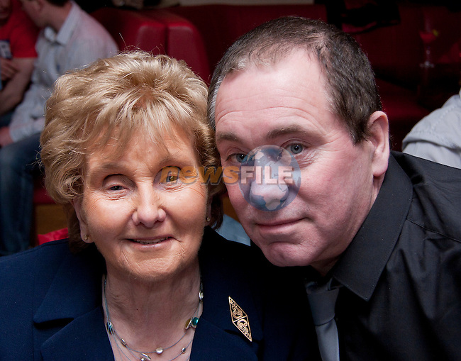 Patrick Maguire celebrating his 60th Birthday in Bru, with his mother, Anna..Picture: Shane Maguire / www.newsfile.ie.