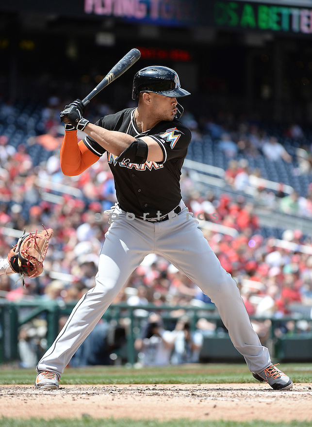 Miami Marlins Giancarlo Stanton (27) during a game against the Washington Nationals on May 14 2016 at Nationals Park in Washington, DC. The Nationals beat the marlins 6-4.