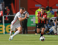 Sheffield United's Enda Stevens (left) battles for possession against Bournemouth's Adam Smith (right) <br /> <br /> Photographer David Horton/CameraSport<br /> <br /> The Premier League - Bournemouth v Sheffield United - Saturday 10th August 2019 - Vitality Stadium - Bournemouth<br /> <br /> World Copyright © 2019 CameraSport. All rights reserved. 43 Linden Ave. Countesthorpe. Leicester. England. LE8 5PG - Tel: +44 (0) 116 277 4147 - admin@camerasport.com - www.camerasport.com