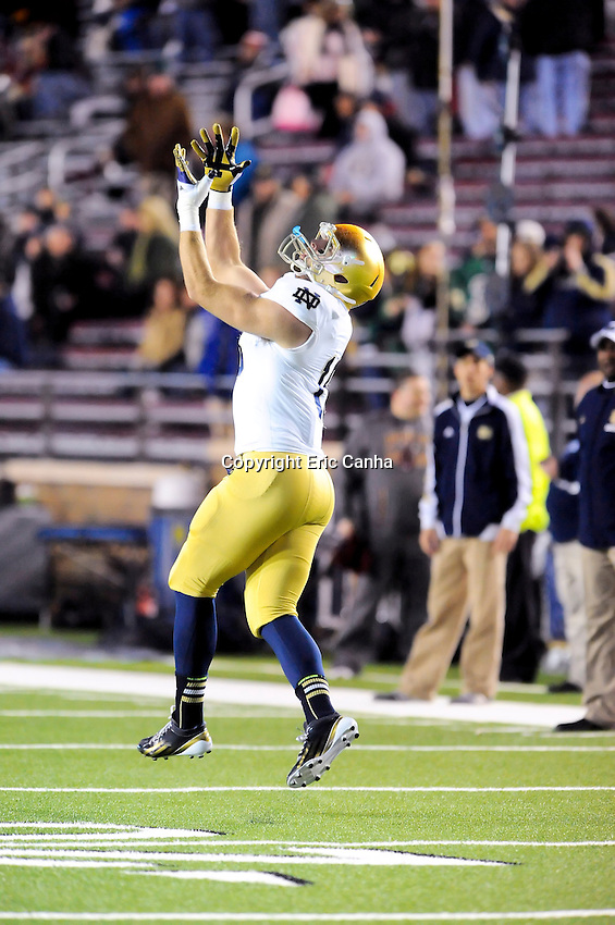Notre Dame Fighting Irish tight end Ben Koyack (18) warms up prior to  the Boston College Eagles vs Notre Dame Fighting Irish NCAA football game held at Alumni Stadium, in Chestnut Hill, Massachusetts.   Eric Canha/CSM